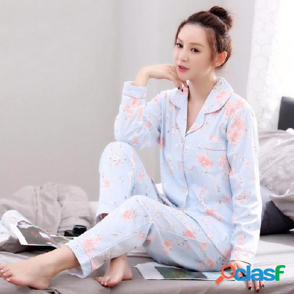 Conjunto de pijamas para mujer primavera otoño de manga larga de algodón top + pantalón pijamas mujeres dulce lindo estampado floral para el hogar ropa azul cielo / xxxl