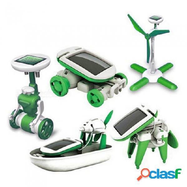 Juguete de inteligencia para niños alimentado por energía solar, juguete de ensamblaje educativo para el experimento educativo de robots de bricolaje para niños padres verde