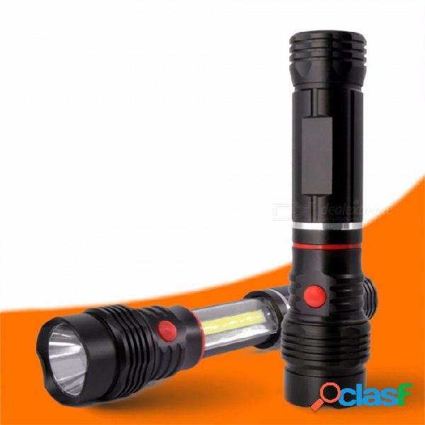 Luz de trabajo led cob telescópica portátil, linterna magnética fuerte super brillante linterna blanca / negra