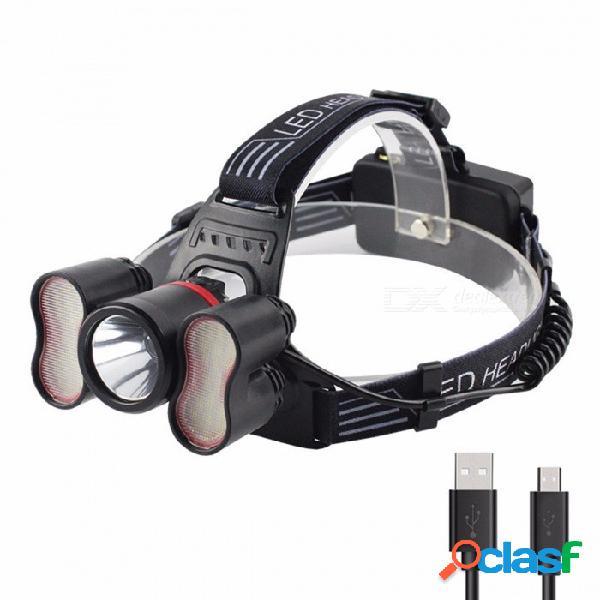 Usb recargable led faro faro cabeza lámpara iluminación linterna control de luz antorcha linterna 18650 con pilas blanco / gris