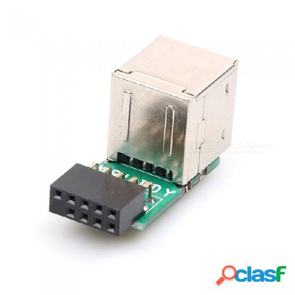 Dayspirit usb 2.0 de 9 pines hembra de 2 puertos un adaptador de adaptador hembra placa madre tarjeta pcb