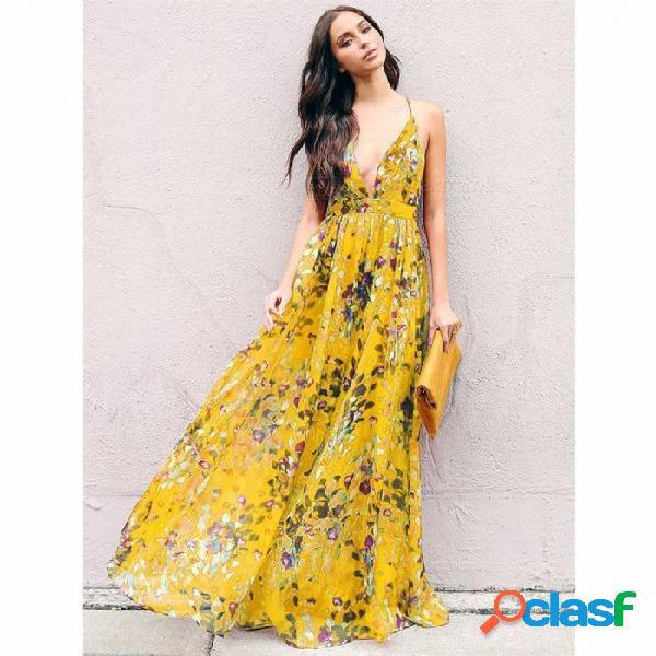 Estilo de moda verano estilo bohemio floral largo maxi correa de espagueti vestido imperio vestido de playa vestido de verano - amarillo
