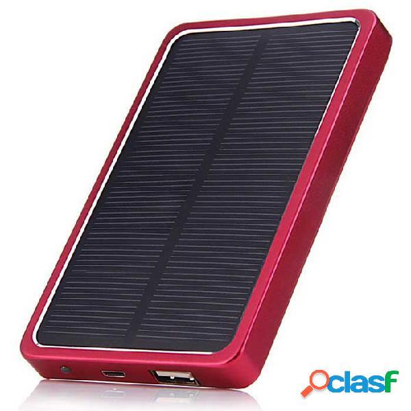 Material de la aleación de aluminio 5v 2.1a 4000mah cargador solar banco móvil de la energía con el led - plata + rojo