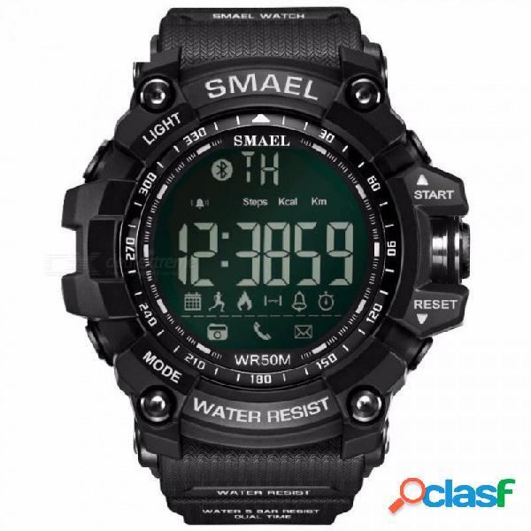 Reloj elegante de la marca de lujo smael con llamada bt / sms / gorjeo / facebook / whatsapp / recordatorio de skype / pasos deportivos contando