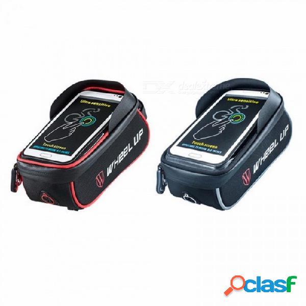 Rueda hacia arriba bolsa de bicicleta impermeable cesta marco tubo frontal manillar bolsa ciclismo pantalla táctil bolsas de teléfono