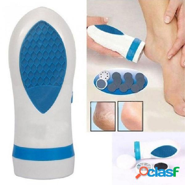 Belleza cuidado de los pies pedi giro eléctrico elimina callos masajeador pedicura muerta piel seca pie eléctrico archivo blanco + azul