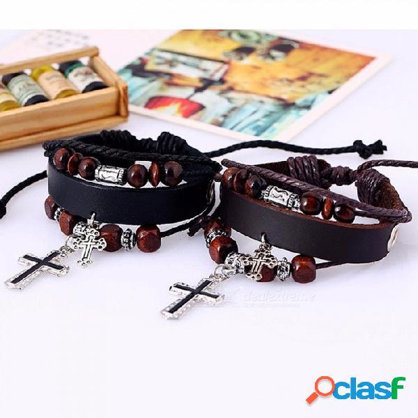Cuentas de cuero multicapa cruz encanto pulsera gótica cuerda pulseras brazaletes para hombres abrigo joyería negro