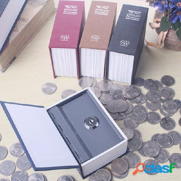 Diccionario caja mini segura, dinero de libro, secreto, seguridad, seguro, cerradura, dinero efectivo, moneda, almacenamiento, almacenamiento, llave, armario, para niños, negro