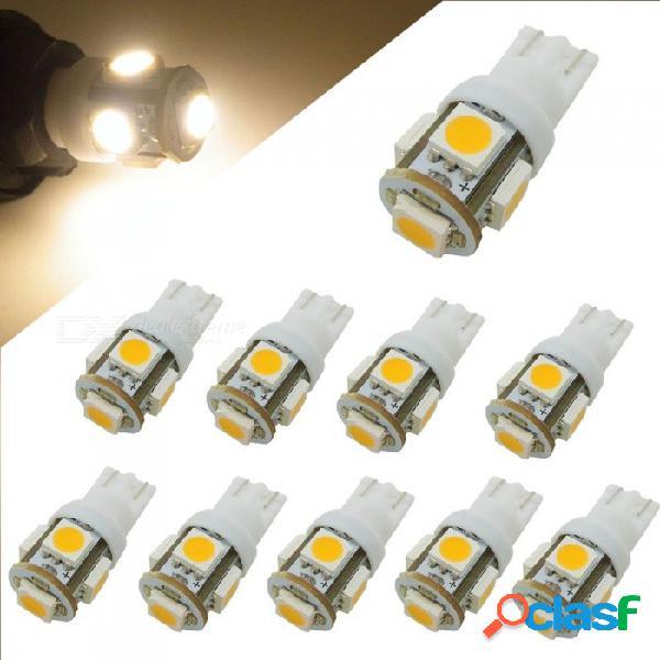 Honsco 10pcs w5w t10 5smd 5050 led 12v 1w blanco cálido lámparas de respaldo para automóvil (10 piezas)
