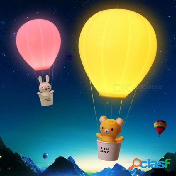 Novedad que regula la lámpara de los niños con globo aerostático con control remoto, interruptor usb táctil recargable led luz de noche amarillo / 0-5w