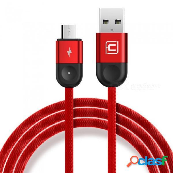 Tipo c micro usb cables de teléfono móvil 1.2m tejen el cable de carga rápida para android apple iphone samsung htc rojo / micro usb