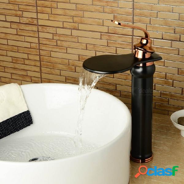 Válvula de cerámica montada cubierta de cobre amarillo antigua un agujero de bronce frotado con aceite, grifo del fregadero del cuarto de baño w / single handle