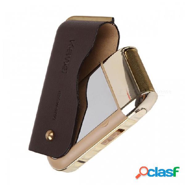 Kemei km-5700 máquina de afeitar eléctrica recargable, máquina de afeitar eléctrica de triple cuchilla para hombres cuidado de la cara dorada