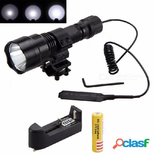 Linterna táctica 2500lm xml t6 led, linterna de caza con el soporte + interruptor de presión + batería + cargador negro