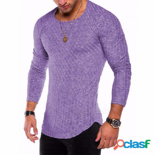Nueva camiseta de fondo con dobladillo de arco de costura en color sólido de 2018, camisa de manga larga con cuello redondo para hombres - púrpura