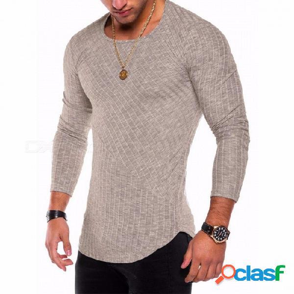 Nueva camiseta de fondo con dobladillo de arco de costura en color sólido de 2018, camisa de manga larga con cuello redondo para hombres - caqui
