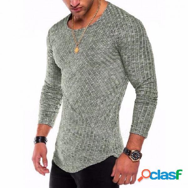 Nueva camiseta de fondo con dobladillo de arco de costura en color sólido de 2018, camisa de manga larga con cuello redondo para hombres - verde