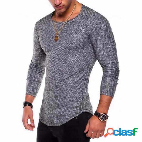 Nueva camiseta de fondo con dobladillo de arco de costura en color sólido de 2018, camisa de manga larga con cuello redondo para hombres - gris oscuro