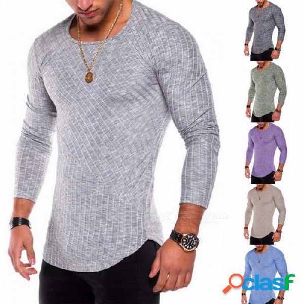 Nueva camiseta de fondo con dobladillo de arco de costura en color sólido de 2018, camisa de manga larga con cuello redondo para hombres - gris