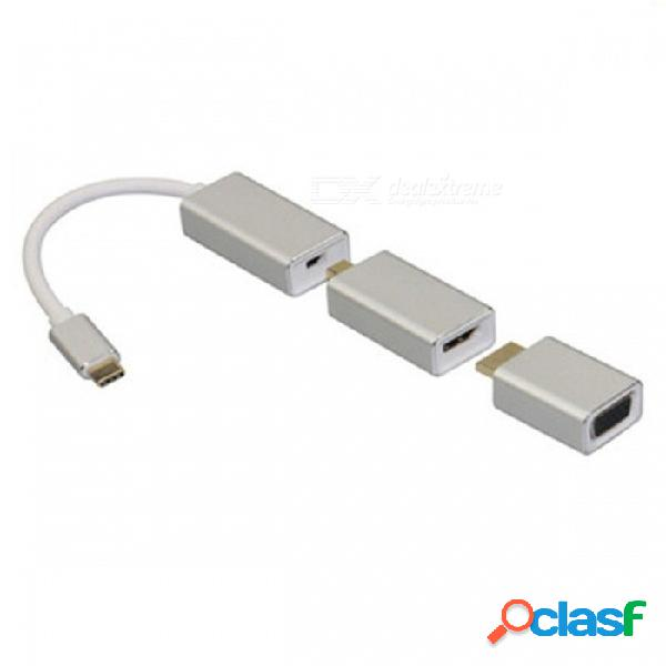 Usb3.1 type-c a mini displayport adaptador dp / vga / hdmi, convertidor de hombre a mujer cable hdtv para macbook pro