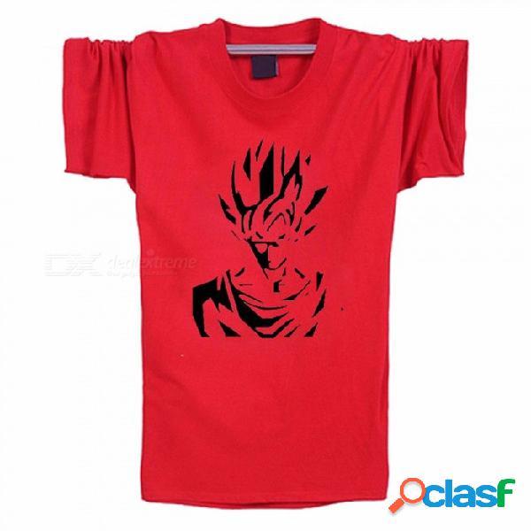 Algodón camiseta animada del dragón del animado de la historieta de los hombres camiseta ocasional, ropa de los hombres del cuello redondo super suave camiseta - rojo
