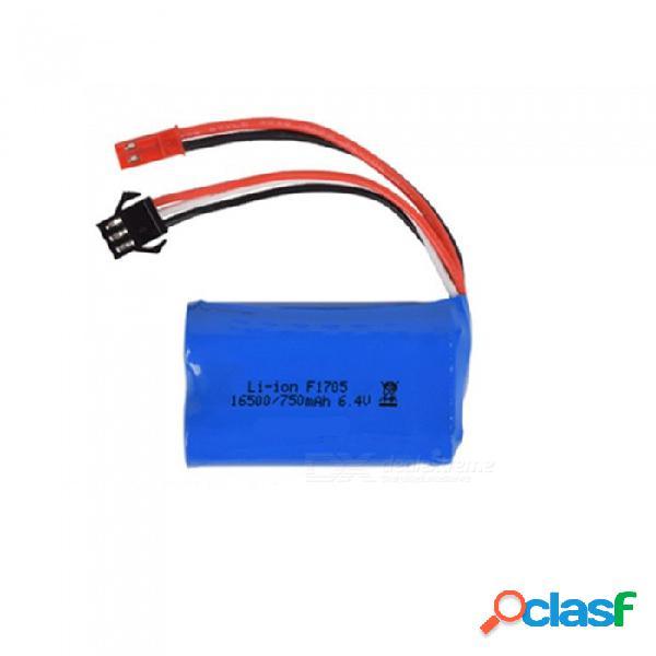 Batería de iones de litio de 6.4v 750mah, jst + sm-3p 16500 * 2 batería recargable para control remoto bote de barco de coche - azul