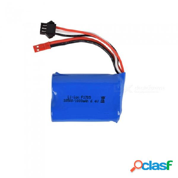 Batería li-ion de 6.4v 1000 mah, jst + sm-3p 18500 * 2 batería recargable para drone de barco de coche de control remoto - azul