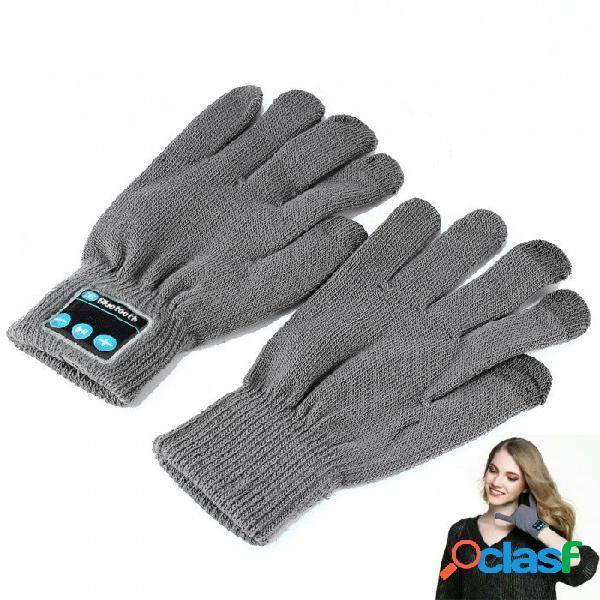 Flexible retráctil bluetooth v4.2 + edr guantes de pantalla táctil con micrófono, admite llamadas telefónicas - gris