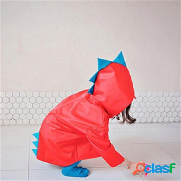 Lindo pequeño dinosaurio impermeable poliéster impermeable capa niño niños niñas a prueba de viento poncho jardín de infantes estudiante bebé impermeable rojo