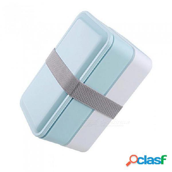 3 colores 1000ml caja de almuerzo de doble capa contenedor de almacenamiento de alimentos horno de microondas cajas bento vajilla caja de almuerzo bpa cielo azul