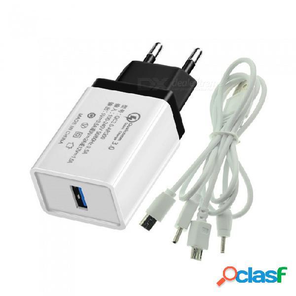 Cwxuan eu plug qc3.0 usb cargador rápido + 4 en 1 tipo c / micro usb / mini usb / cable de carga dc 2.0 - (enchufe de la ue)