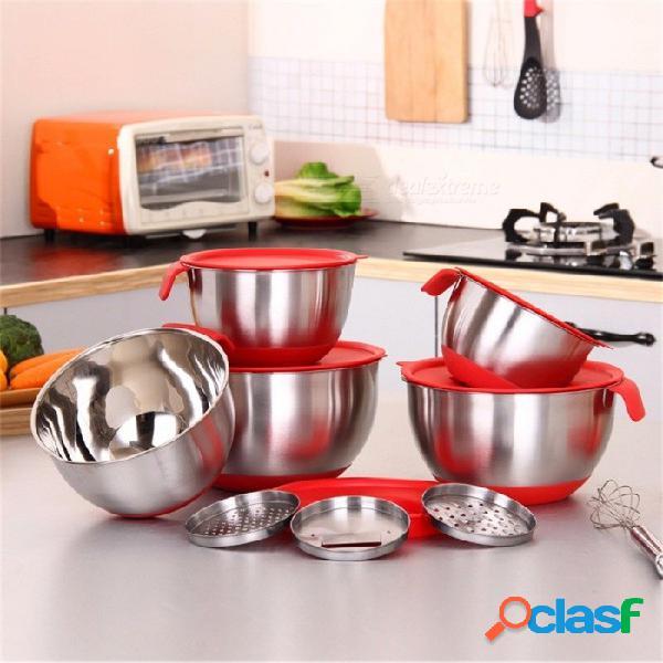 Ingredientes standby cuencos cuenco mezclador de ensalada de acero inoxidable cocina herramienta de cocina con una tapa con un cepillo rojo