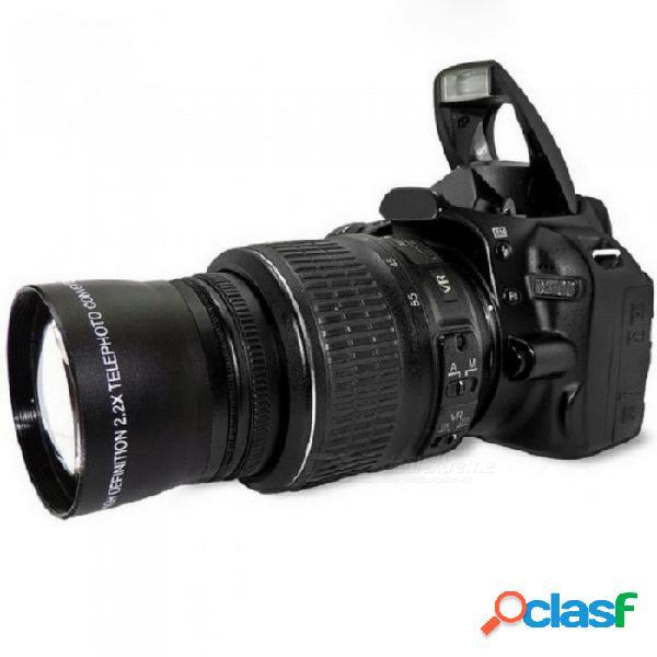 Teleobjetivo 52x 2.0x para nikon d90 d80 d700 d3000 d3100 d3200 d5000 d5100 d5200 cámaras réflex digitales 18-55mm negro
