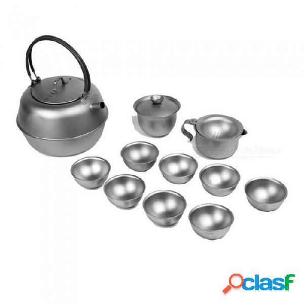 Ti3930 juego de té al aire libre de titanio, utra-luz que acampa kit de la taza de la tetera de té del kung fu