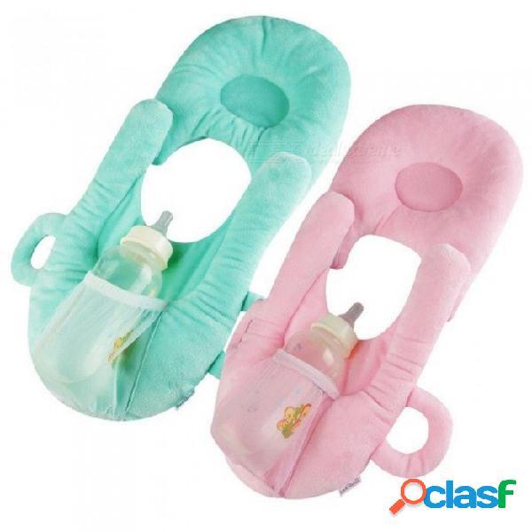 Almohada de lactancia portátil almohada de lactancia del bebé caja del lactante embarazada cubierta de la lactancia almohada de memoria soporte para la cabeza cuello verde