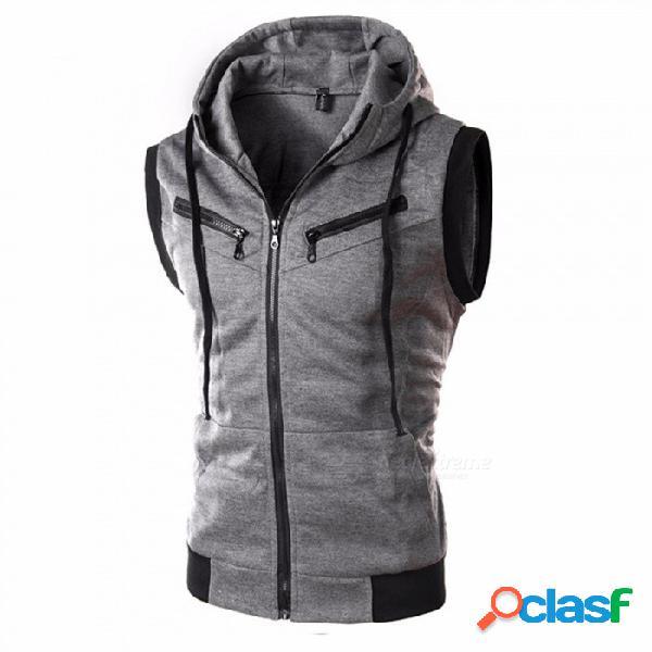 Chaleco con capucha de los hombres, 2018 moda masculina chaqueta sin mangas, chaleco de bolsillo con cremallera, chaleco de algodón de los hombres ocasionales - gris oscuro