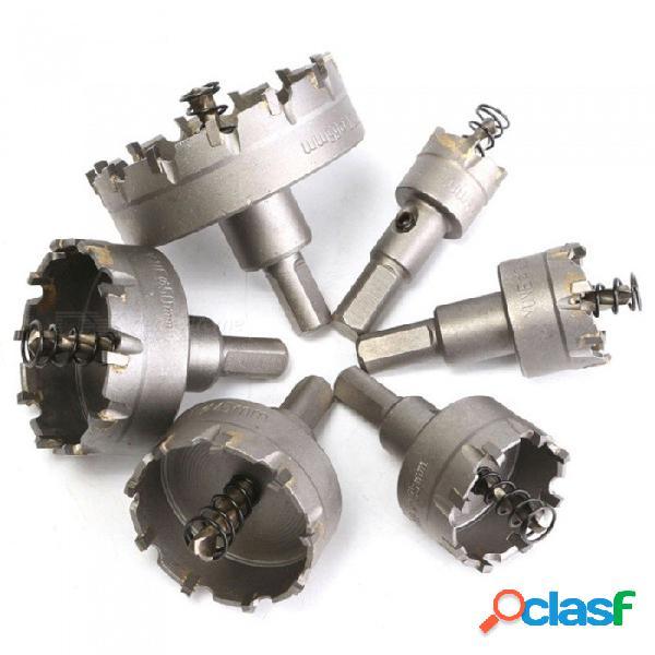 Hss agujero de sierra de conjunto de punta de carburo tct núcleo de broca de agujero de sierra para corte de acero inoxidable de aleación de acero - 6pcs