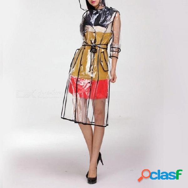 Impermeable transparente de eva con cinturón para mujer chaqueta impermeable cortaviento lluvia poncho al aire libre