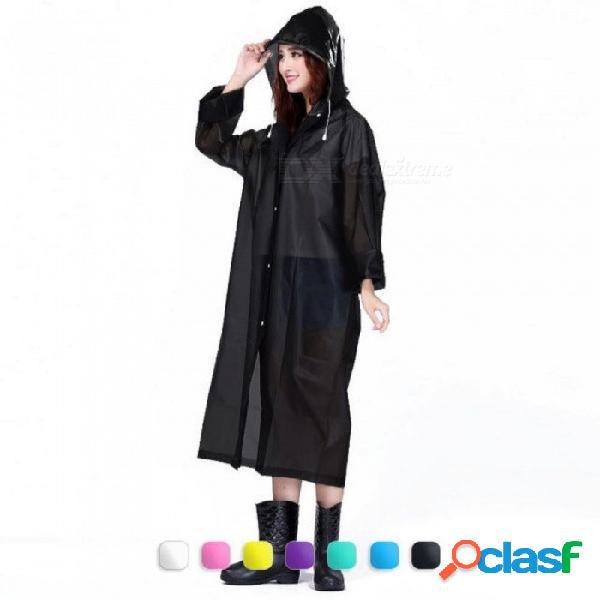 Mujeres de la moda eva impermeable grueso abrigo de lluvia impermeable mujeres transparente claro que acampa impermeable traje impermeable un tamaño / azul