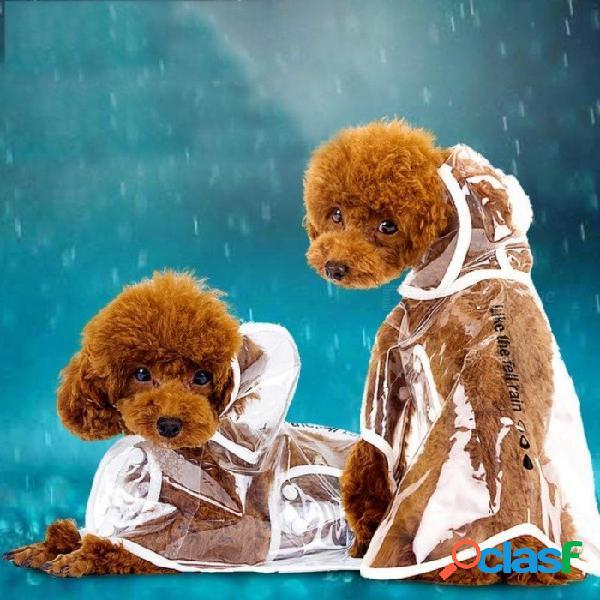 Ropa para perros impermeable transparente ropa ligera impermeable a prueba de agua perro pequeño impermeable con capucha impermeable para mascotas blanco