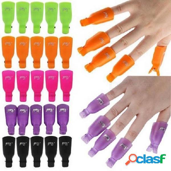 10 unids / set herramientas de clip de manicura cap plástico de uñas de arte de plástico remojo cap clip uv removedor de uñas esmalte de uñas herramienta de envoltura desengrasante púrpura