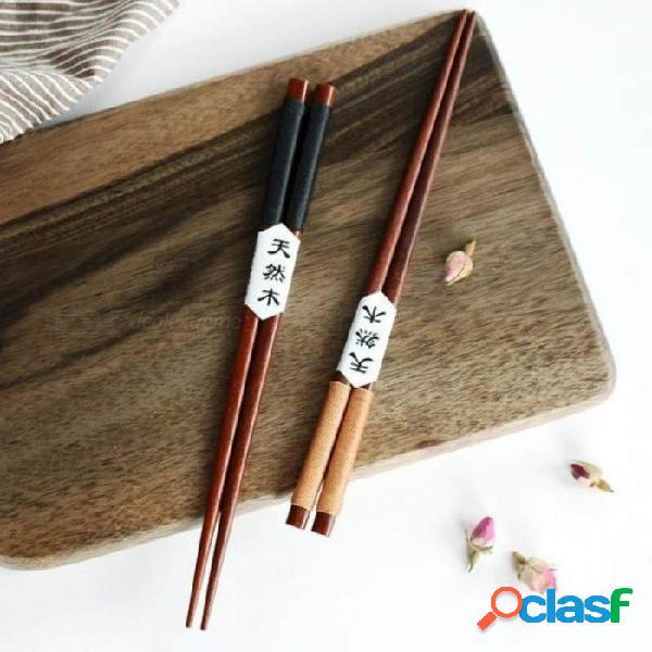 2 pares hechos a mano japonés palillos de madera de castaño natural set valor regalo palillos de madera herramienta de cocina 2 pares