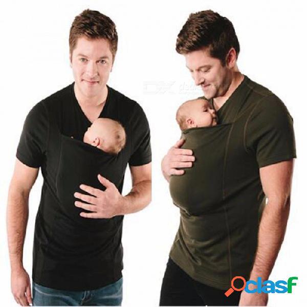 Camisetas con cuello en v de padre, portador de camisetas, camisetas con portabebés, frente de verano multifunción, llevar bolsillo ropa de canguro