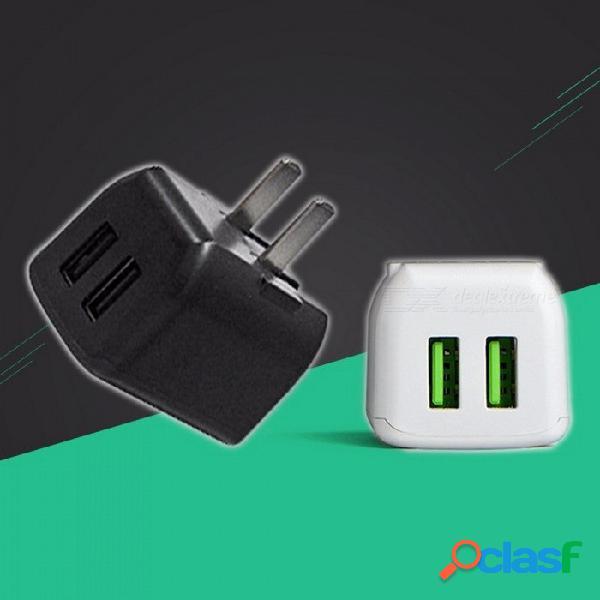 Cargador de viaje usb dual plegable cyke universal, adaptador de alimentación usb multipuerto de carga rápida 2.4a para teléfonos móviles negro