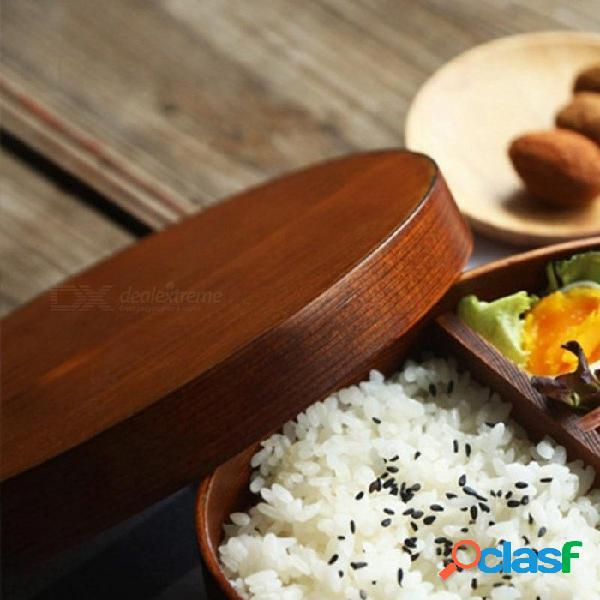 Fiambrera de madera de estilo japonés, contenedor de comida portátil de sushi bento para estudiantes niños, vajilla de picnic para acampar al aire libre marrón