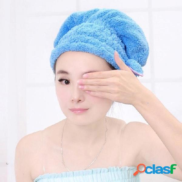 Gorro de ducha de colores envuelto toallas microfibras sombreros de baño sólido superfino rápidamente cabello seco sombrero accesorios de baño
