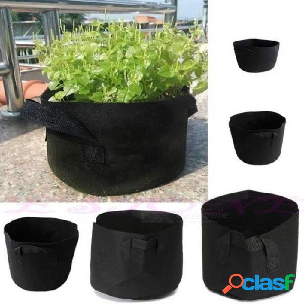 Hogar paraíso negro macetas de tela planta bolsa vegetal redondo aireación olla recipiente bolsa de cultivo con color negro 1 galón