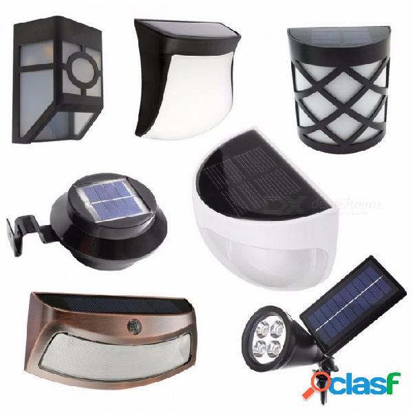Solar alimentado led luz de jardín lámpara de luz impermeable al aire libre cerca lámpara de pared iluminación