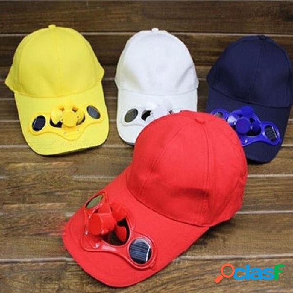 Ventilador solar creativo gorra de béisbol sombrero exterior gorra de viaje visera gorra de verano gorra de pesca con interruptor amarillo / talla única
