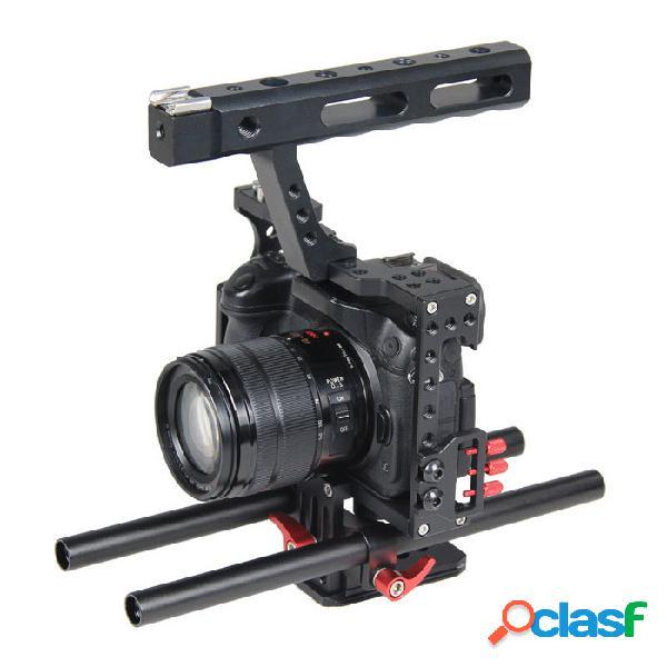 Yelangu la creación de películas de cine jaula de vídeo de la cámara de 15 mm con varilla plataforma del sistema
